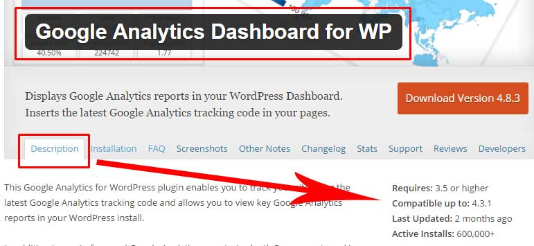 Google Analytics WordPress Plugin Description Details