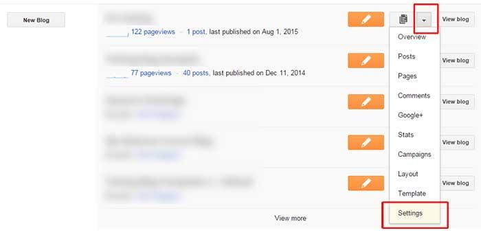 Access blogspot blog settings
