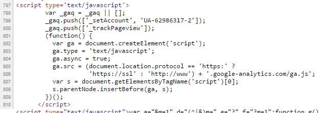 Blogger ga.js in source code