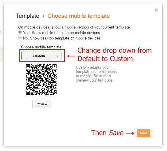 Change mobile template to custom